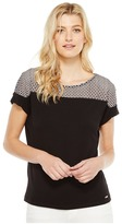 Calvin Klein Short Sleeve Top with Lace Yoke Women's Short Sleeve Knit