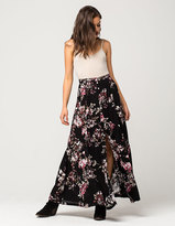 Full Tilt Floral Ruffle Hem Maxi Skirt