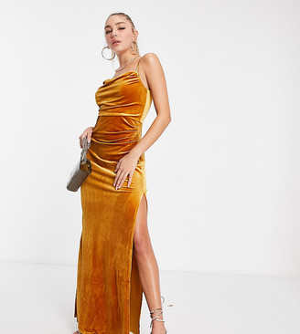 Jaded Rose exclusive velvet cami maxi dress with thigh slit in mustard