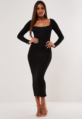 Missguided Black Scoop Neck Long Sleeve Midi Dress