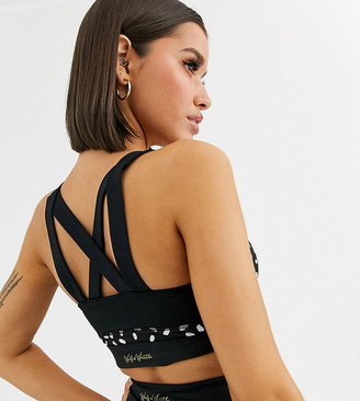Wolfwhistle Wolf & Whistle graphic print sports bra with mesh sides in black