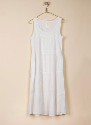 Indi & Cold - White Tiered Dress - Extra Small (8) | viscose | white - White/White
