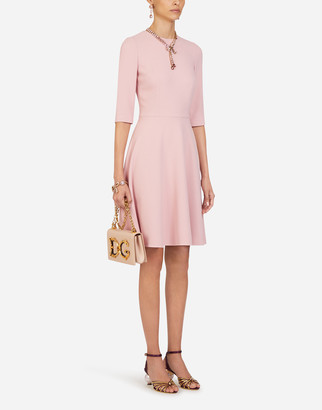 Dolce & Gabbana Long-Sleeved Cady Fabric Midi Dress