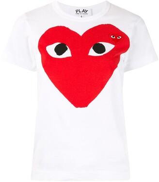 Comme des Garcons heart print logo patch T-shirt