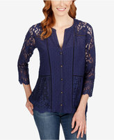 Lucky Brand Three-Quarter-Sleeve Lace Blouse