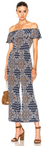 L'Agence Nicolle Ruffle Jumpsuit in Blue,Floral.