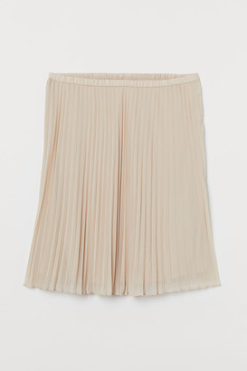 H&M H&M+ Pleated Skirt - Beige
