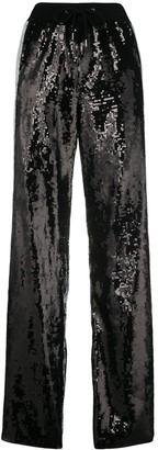 Alberta Ferretti sequin side striped track pants