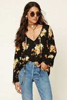 Forever 21 FOREVER 21+ Floral Gauze Self-Tie Top