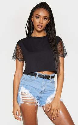 PrettyLittleThing Black Eyelash Lace Sleeve Crop T Shirt