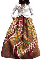 Kalin L Women Deluxe African Print Color Block Contrast High Waist Maxi Fla Circle Skirt