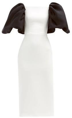 Rasario Puff-sleeve Satin Midi Dress - White Black