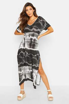 boohoo Tie Dye Oversized Midaxi T-Shirt Dress