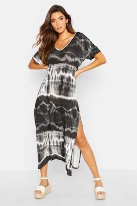 boohoo Tie Dye Oversized Midaxi T-Shirt Dress