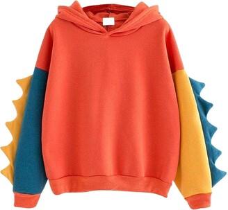 Turkey Christmas Women Hooded Sweatshirt Fashion Novelty Dinosaur Element Splice Long Sleeve Tees Tunic Tops Teen Girl Candy Color Cute Cartoon Design Casual Hoodie