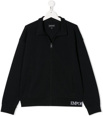 Emporio Armani Kids TEEN zip-through embroidered-logo jacket