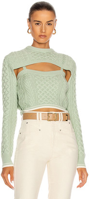Rosie Assoulin Thousand In One Ways Sweater in Mint | FWRD