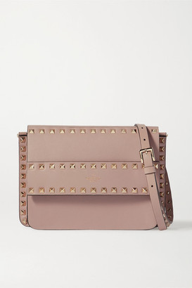 Valentino Garavani Rockstud Leather Shoulder Bag - Tan