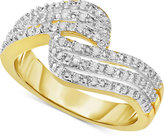 Victoria Townsend Diamond Wave Ring (1/4 ct. t.w.) in 18k Gold-Plated Sterling Silver