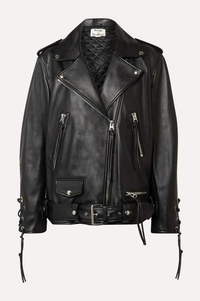 db7b25db7 Lastrid Oversized Lace-up Leather Biker Jacket - Black