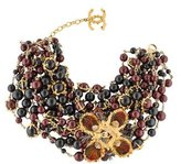 Chanel CC Feather Beaded Collar Necklace
