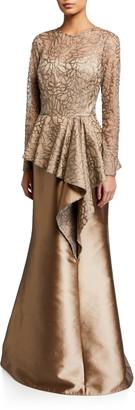 Rickie Freeman For Teri Jon Sequin Leaf Pattern Tulle Peplum Top w/ Gazar Skirt Gown
