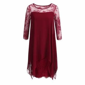 KPILP Womens Chiffon Mini Dress Long Sleeve Solid Color Plus Size Dress Ladies Oversized Dresses Overlay Three Quarter Sleeve Loose fit Dress