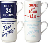 Kate Spade Order's Up Set of 4 Stoneware Mugs