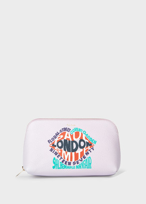 Paul Smith Pink 'Paul Smith London' Print Leather Make-Up Pouch