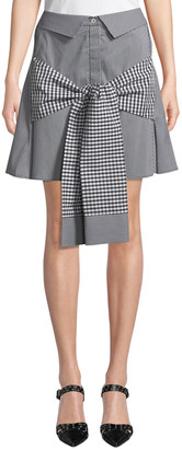 Maggie Marilyn Crowd Pleaser Tie-Front Gingham Mini Skirt