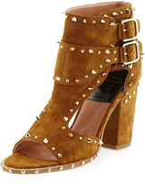 Laurence Dacade Deric Spiked Cutout Buckled Sandal, Rust Brown