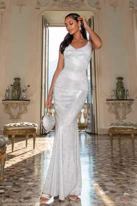 Quiz Silver Glitter Cowl Neck Maxi Dress