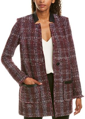 St. John Leather-Trim Wool-Blend Jacket