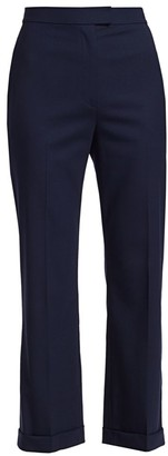 St. John Stretch-Wool Wide-Leg Cropped Pants