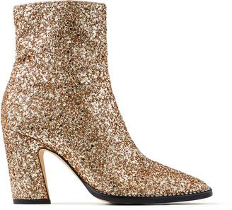 Jimmy Choo MAVIN 85 Metallic Gold Glitter Fabric Block Heel Ankle Boots
