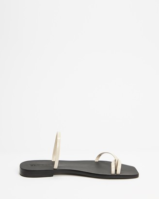 Sol Sana Women's White Flat Sandals - Peonie Slides - Size 39 at The Iconic