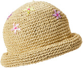Cloche Boardwalk Style Women's Cloches Natural - Beige Straw Floral Embroidered