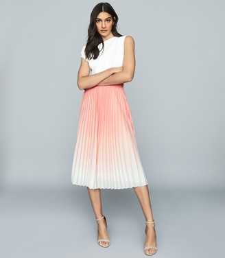 Reiss Mila - Ombre Pleated Midi Skirt in Peach
