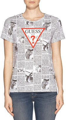 GUESS Short Sleeve News Print Logo Easy Tee
