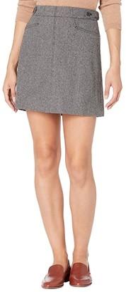 Madewell Herringbone Assembly A-Line Mini Skirt (Nubby Black/White Heather) Women's Skirt
