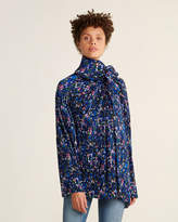 Balenciaga Floral Tie Neck Plisse Shirt