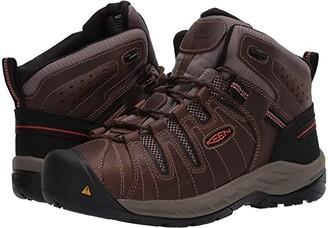 Keen Flint II Mid Soft Toe (Cascade Brown/Burnt Ochre) Men's Work Boots