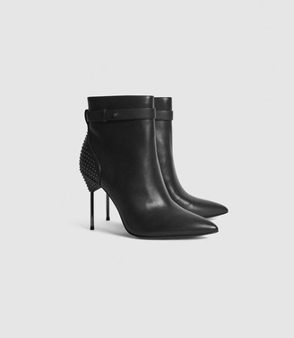 Reiss Ledbury - Studded Pin-heel Ankle Boots in Black