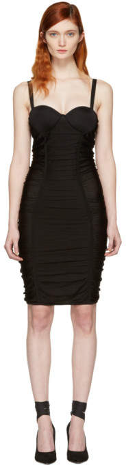 Balmain Black Ruched Mesh Dress
