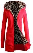 Women Coat Changeshopping 1PC Plus Velvet Thickened Hooded Sweater Leopard Zipper (S, )
