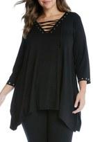 Karen Kane Grommeted Lace-Up Handkerchief Hem Top (Plus Size)