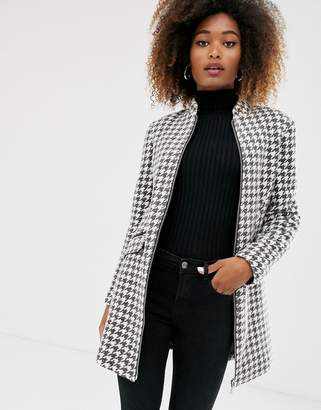 Stradivarius coat with faux leather piping in dog tooth-Multi