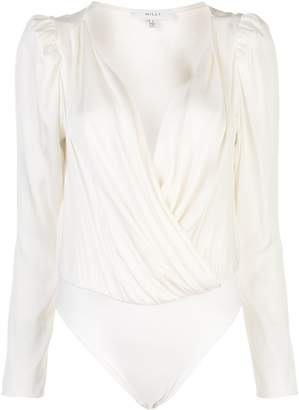 Milly long-sleeve wrap bodysuit top