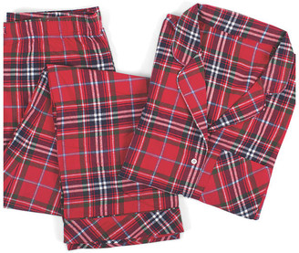 One Kings Lane Cotton Pajama Set - Red Tartan Plaid - large/XL