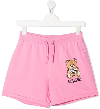 MOSCHINO BAMBINO TEEN teddy bear print track shorts